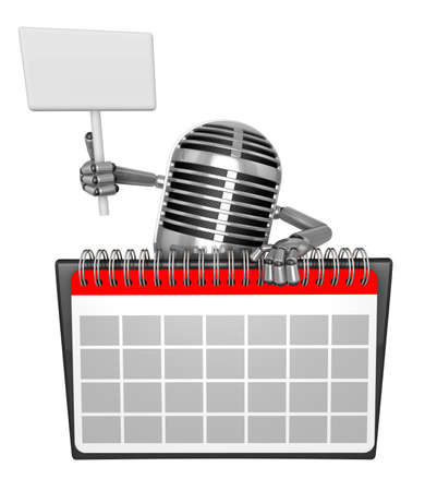 picket: 3D Classic Microphone Mascot hand is holding a picket and desk calendar. 3D Classic Microphone Robot Character Series. Stock Photo