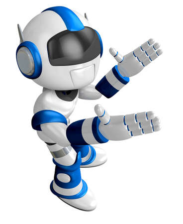 humanoid: Blue robot mascot the direction of pointing with both hands. Create 3D Humanoid Robot Series.