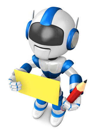 grasp: Blue robot Grasp a pencil and board. Create 3D Humanoid Robot Series.