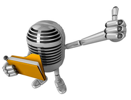 allegiance: 3D Classic Microphone Mascot the right hand best gesture and left hand is holding a binder. 3D Classic Microphone Robot Character Series. Stock Photo