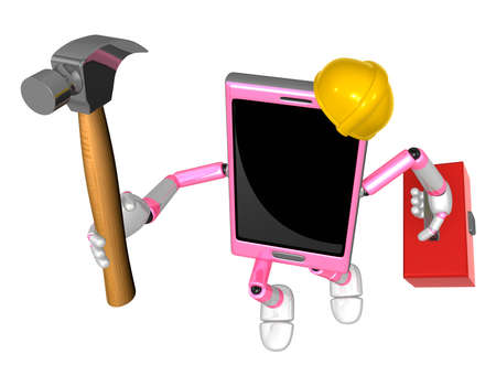 cellularphone: 3D Smart Phone Mascot holding a with both hammer and toolbox. 3D Mobile Phone Character Design Series.