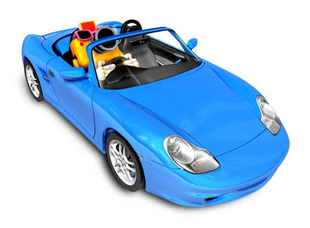 convertible car: Driving a Blue Convertible car in Yellow camera Character. Create 3D Camera Robot Series. Stock Photo