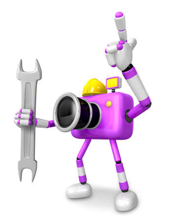 fidelity: The left hand Holding a Spanner Engineer Purple Camera Character. The right hand point the finger. Create 3D Camera Robot Series. Stock Photo