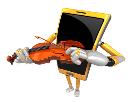 fiddlestick: 3D Smart Phone Mascot has to be playing the violin. 3D Mobile Phone Character Design Series.