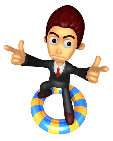 caballa: 3D Business man Mascot To point the finger at you with both hands dip tube ride. Work and Job Character Design Series.