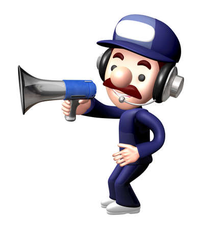 calling art: 3D Service man Mascot the hand is holding a loudspeaker. Work and Job Character Design Series. Stock Photo
