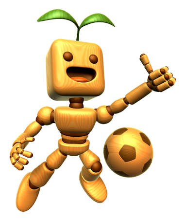 jointed: 3D wooden dolls Mascot to make the best match.. Wooden Ball Jointed doll Character Design Series. Stock Photo