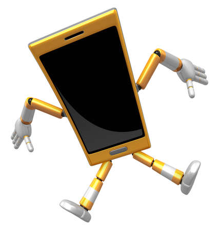 cellularphone: 3D Smart Phone Mascot to be powerful and jumping. 3D Mobile Phone Character Design Series. Stock Photo