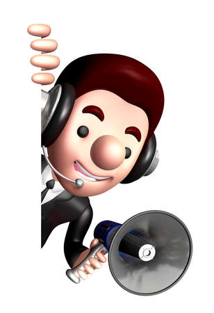 usher: 3D Business man Mascot the hand is holding a loudspeaker. Work and Job Character Design Series.