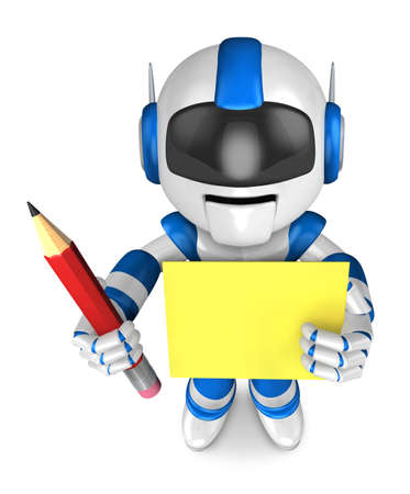 humanoid: Blue robot Grasp a pencil and board. Create 3D Humanoid Robot Series.