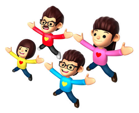 stretched: The Family is jumping with both hands stretched. 3D Family and Children Character Design Series. Stock Photo