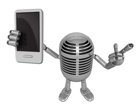 classical mechanics: 3D Classic Microphone Mascot the left hand guides and the right hand is holding a Smart Phone. 3D Classic Microphone Robot Character Series.