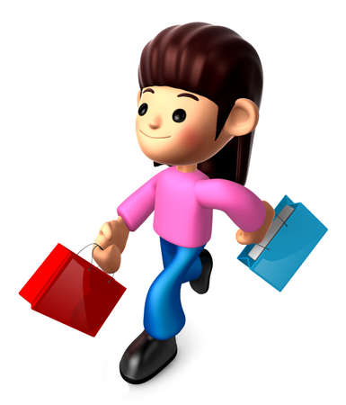 shopping family: Walking down The Mother carrying a Shopping Bag. 3D Family and Children Character Design Series.