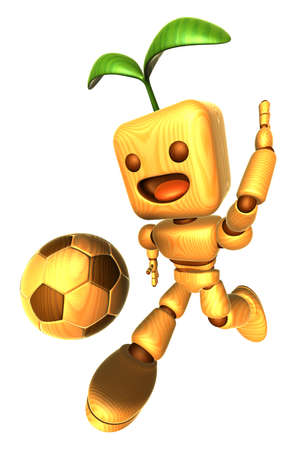 dynamic activity: 3D Wood Doll Mascot is a powerful Football playing. Wooden Ball Jointed doll Character Design Series.