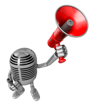fidelity: 3D Classic Microphone Mascot the hand is holding a loudspeaker. 3D Classic Microphone Robot Character Series. Stock Photo