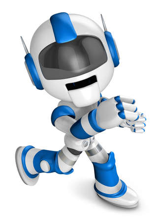 humanoid: Blue Robot Character and a boxing play. Create 3D Humanoid Robot Series. Stock Photo