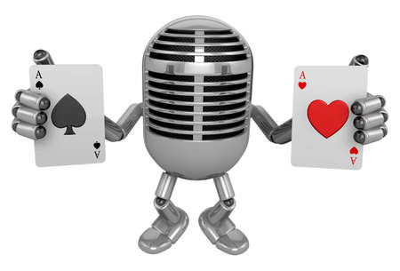 trump: 3D Classic Microphone Mascot hand is holding a playing card. 3D Classic Microphone Robot Character Series.
