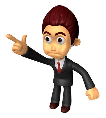 indignation: 3D Business man Mascot To point the finger at the angry look. Work and Job Character Design Series.