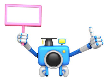 grasp: The best gesture of the left hand is taking Master Blue Camera Character. The right hand grasp board. Create 3D Camera Robot Series.