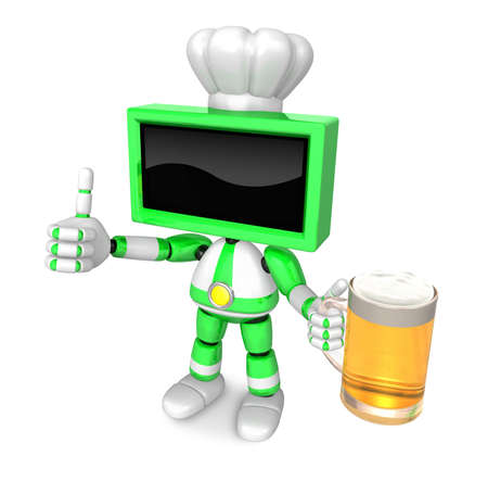 left hand: Green TV chef Mascot the left hand best gesture and right hand is holding a beer mug. Create 3D Television Robot Series.