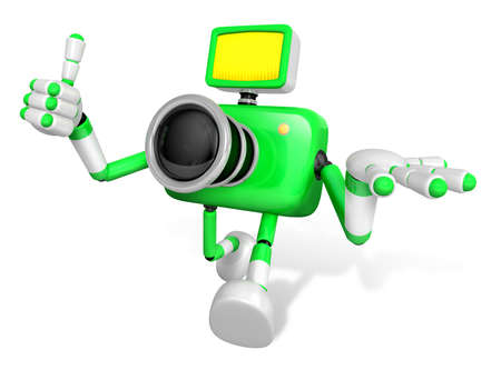 allegiance: The Green Camera Character Taking the right hand is the best gesture. Instructed to gesture with the left hand is taking.  Create 3D Camera Robot Series.