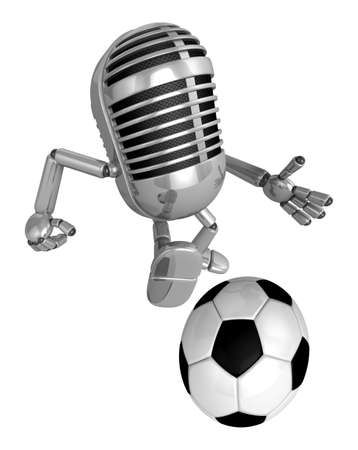 stunt: 3D Classic Microphone mascot balls stunt Beak. 3D Classic Microphone Robot Character Series.