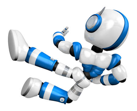 humanoid: The blue robot on kicks. Create 3D Humanoid Robot Series.
