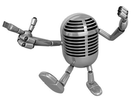 memory stick: 3D Classic microphone is connected to a USB memory stick fingertips. 3D Classic Microphone Robot Character Series. Stock Photo