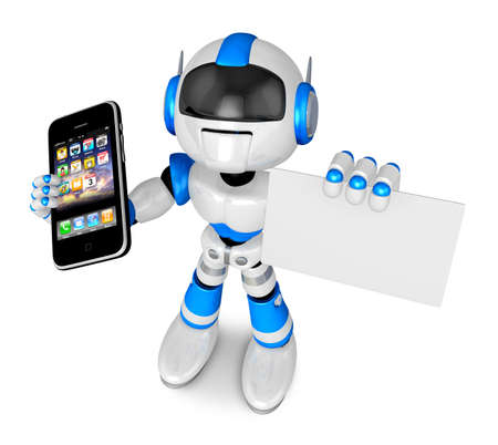telecast: Blue robot character Smart Phone the left hand holding. business card with your right hand. Create 3D Humanoid Robot Series. Stock Photo