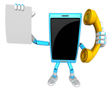 cellularphone: 3D Smart Phone Mascot hand is holding a Document and telephone. 3D Mobile Phone Character Design Series.
