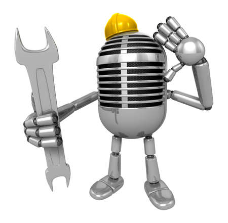 classical mechanics: 3D Classic Microphone Mascot the hand is holding a spanner. 3D Classic Microphone Robot Character Series.