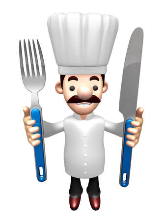 grasp: 3D Chef Grasp a Knife and fork in both hands. Work and Job Character Design Series.