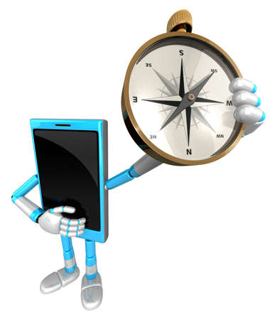 cellularphone: 3D Smart Phone Mascot is holding a compass. 3D Mobile Phone Character Design Series.