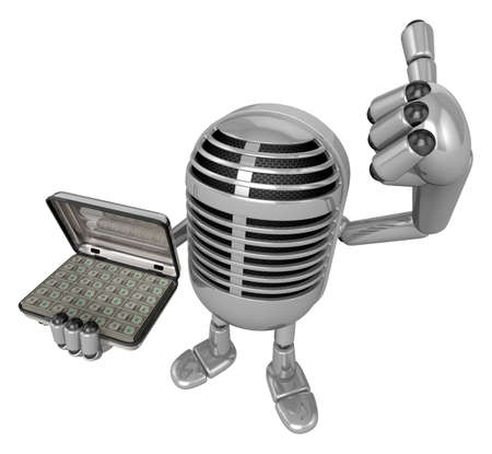 classical mechanics: 3D Classic Microphone Mascot the right hand best gesture and left hand is holding a Money Briefcase. 3D Classic Microphone Robot Character Series.