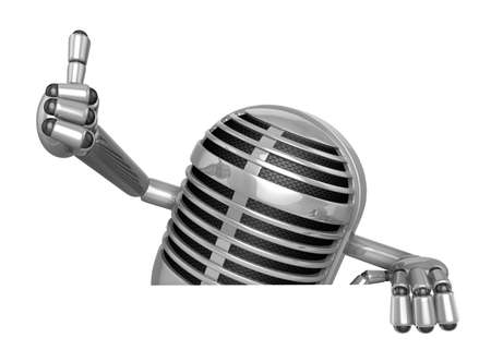 classical mechanics: 3D Classic Microphone Mascot the right hand best gesture and left hand is holding a board. 3D Classic Microphone Robot Character Series.