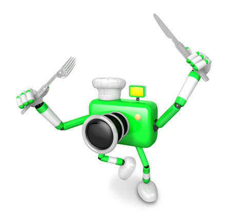 plate camera: Chef Green Camera Character right hand, Fork in the left hand holding a Knife. Create 3D Camera Robot Series.