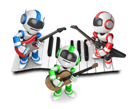 humanoid: Playing the guitar is a blue robot with red robot and green robot. Create 3D Humanoid Robot Series.