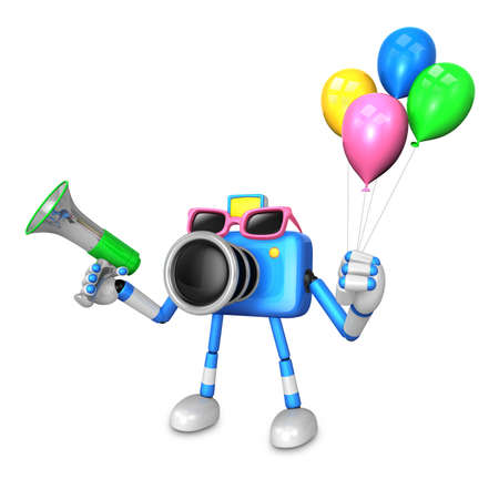 publicize: Blue camera character to the event activity. Create 3D Camera Robot Series. Stock Photo