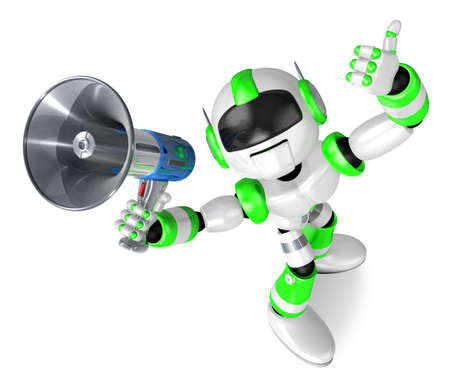 humanoid: The Green robot in to promote Sold as a loudspeaker.  Create 3D Humanoid Robot Series. Stock Photo