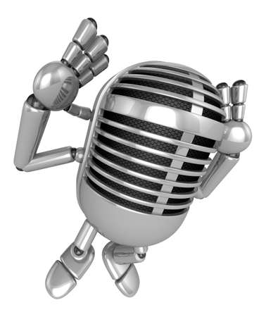 preservation: 3D Classic Microphone Mascot gesture of both hands to hear that. 3D Classic Microphone Robot Character Series.