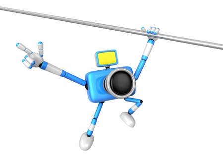 bar one: Blue camera with one hand horizontal bar exercises. Create 3D Camera Robot Series.