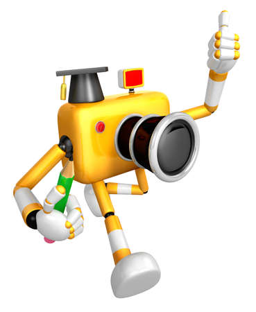 grasp: The best gesture of the left hand is taking Master Yellow Camera Character. The right hand grasp pencil. Create 3D Camera Robot Series.