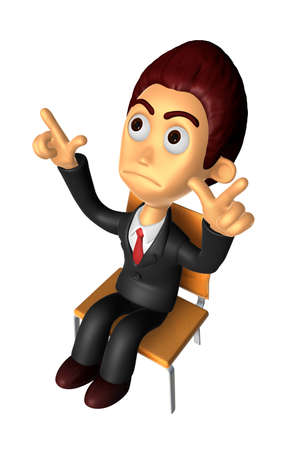 discontent: 3D Business man Mascot Pointing fingers gesture of anger. Work and Job Character Design Series. Stock Photo