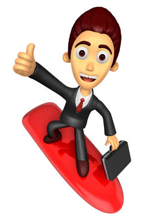 literary characters: 3D Business man Mascot balancing on a surfboard best gesture. Work and Job Character Design Series.