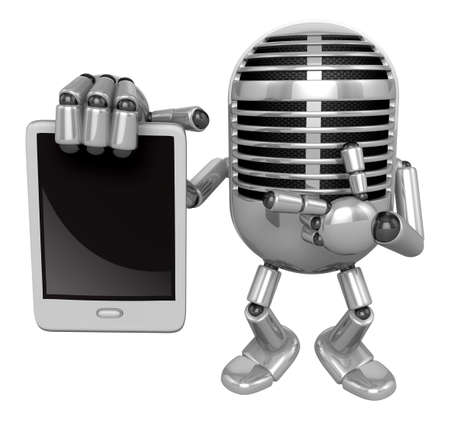 fidelity: 3D Classic Microphone Mascot the right hand is holding a tablet PC. 3D Classic Microphone Robot Character Series. Stock Photo