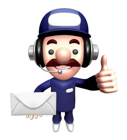 calling art: 3D Service man Mascot holding a large letter. Work and Job Character Design Series. Stock Photo