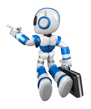 fidelity: Flying Blue Robot carrying a Briefcase. Create 3D Humanoid Robot Series.