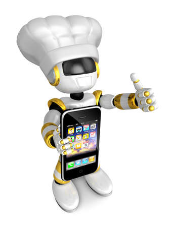humanoid: Gold Robot the right hand best gesture and left hand is holding a Smartphone. Create 3D Humanoid Robot Series.
