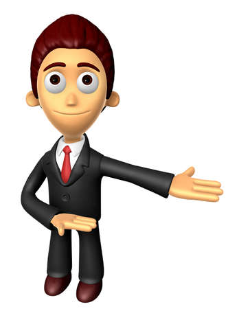 suggests: 3D Business man mascot Suggests the direction. Work and Job Character Design Series.