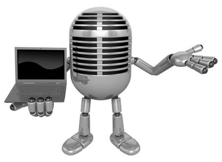 classical mechanics: 3D Classic Microphone Mascot the right hand guides and left hand is holding a laptop. 3D Classic Microphone Robot Character Series. Stock Photo